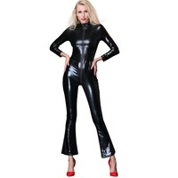 High Quality Sexy Lingerie 2019 New Long Sleeve Catsuit FulL Body Latex Suit Sexy Faux Leather Club Clothing Zipper to Crotch