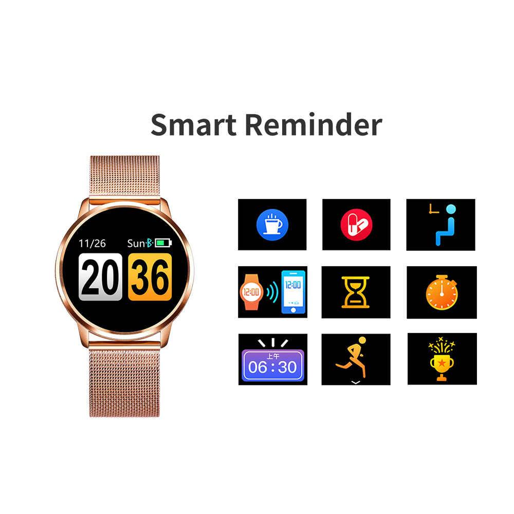 Q8 Смарт-часы OLED Цвет Экран Smartwatch Дамская Мода Фитнес трекер монитор сердечного ритма