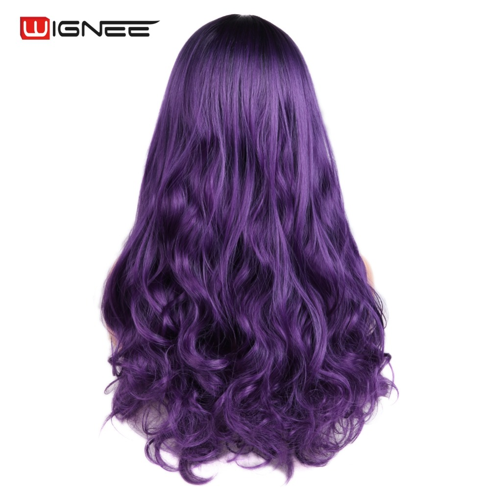 Wignee Wavy Hair Synthetic Wig For Women High Density Heat Resistant Middle Part Cosplay Long Body Wave Machine Hair Purple Wig