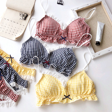Bra Set for Cotton grid Bra for Girls Teens Underwear Sets for Teenagers Lingerie woman Underwear Kids padded Bra and panty