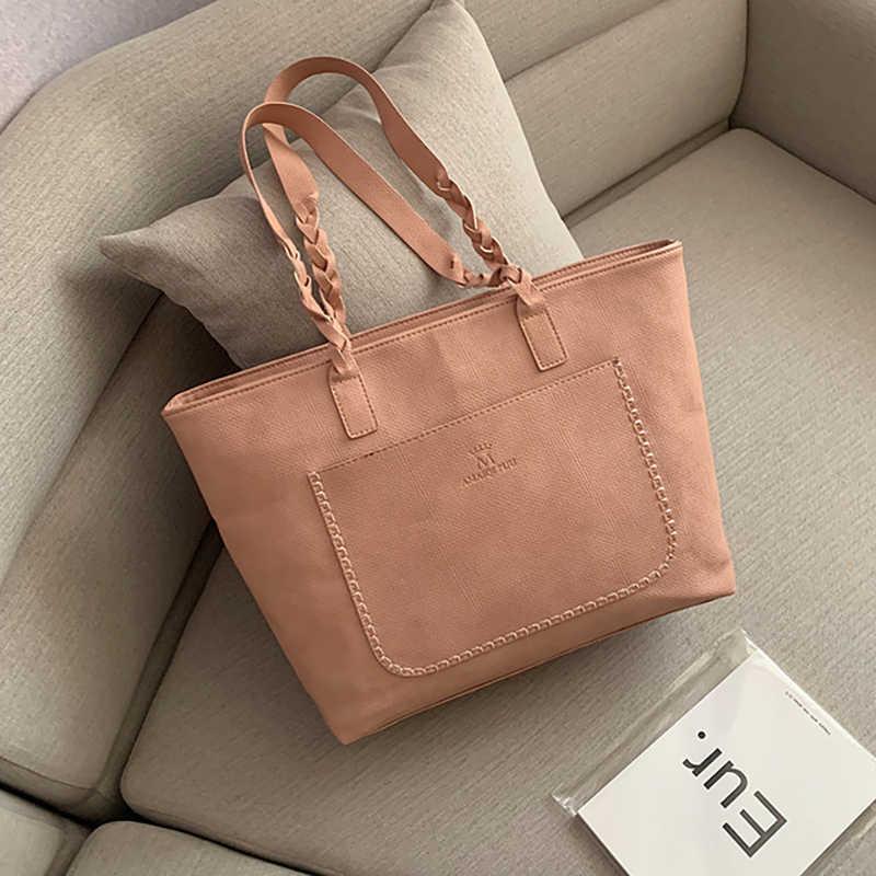 Color sólido gran capacidad tendencia nueva PU pitot bolsa versión coreana de la mujer bolso simple mujer diseñador bolso de hombro