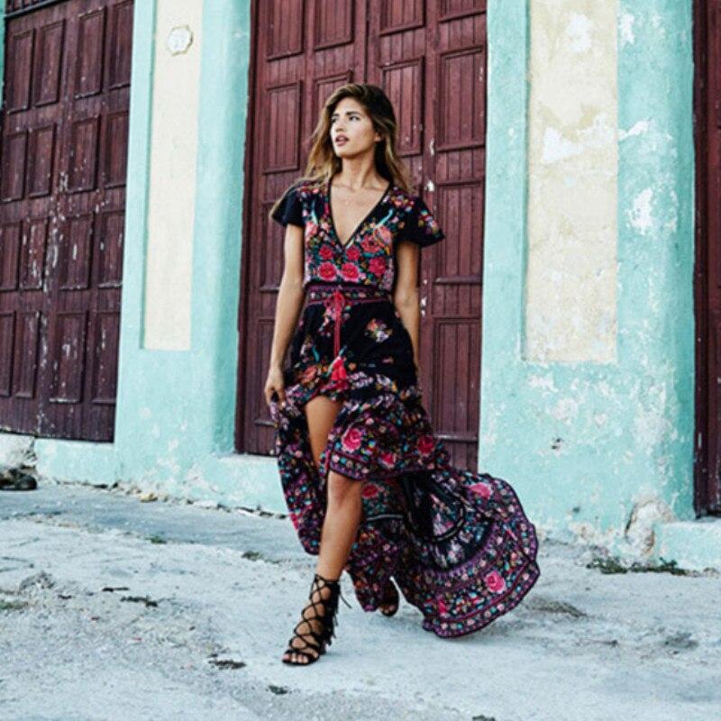 e7b83e992 Cuello Sexy Cinturón Las Playa Pliegues Largo Estampado Flores Vintage 2019  Negro Con De Vestido Boho Verano Mujeres V Maxi ...