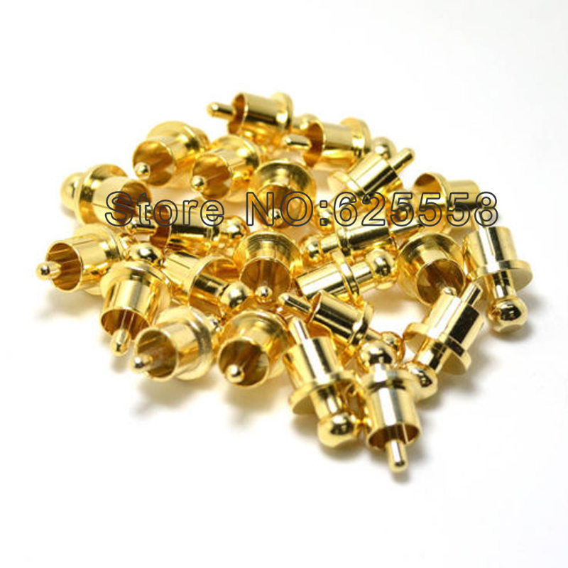 12pcs X Noise Stopper Gold Plated Copper Cap Dust Protector Rca Plug Caps Strong Packing Consumer Electronics