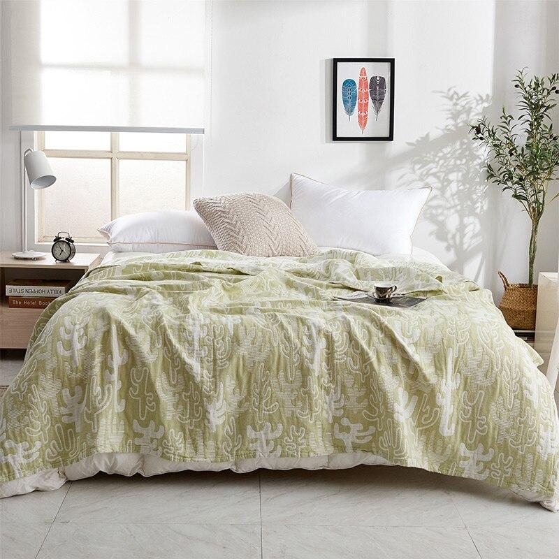 IDouillet Cactus motif 3 couches coton mousseline jeter couverture adulte lit doux couette couverture enfants bambin literie Twin pleine taille