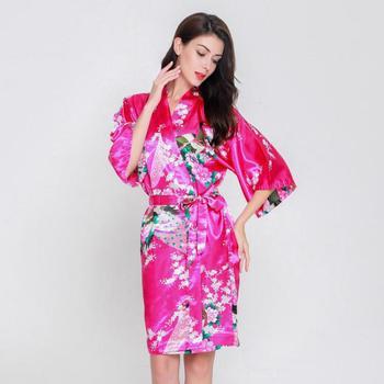 dbd0e8cd7 Mujeres nueva novia de dama de honor boda Robe ropa de dormir femenina  impresión Floral y pavo real Kimono Albornoz rayón camisón inicio ropa