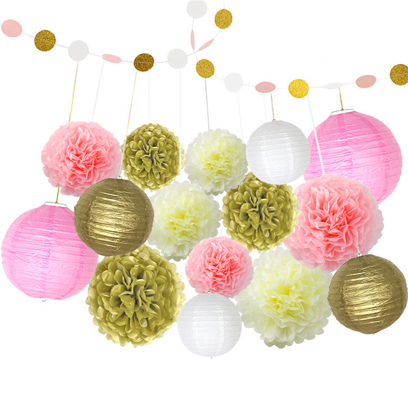Paper Lanterns Wedding Decoration Ideas: 16pcs/set Paper Lanterns+Paper Garland Round Chinese Paper