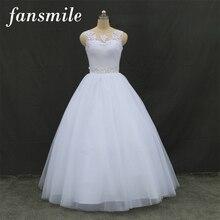 Fansmile Real Photo Cheap Double Shoulder Lace Up Ball Wedding Dresses 2016 Vintage Plus Size Bridal Dress Wedding Gown FSM-027F