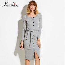 Kinikiss модные женские туфли пикантные облегающее платье осень-зима трикотажное платье миди vestdos Твердые длинным рукавом Вышивка Крестом Пакет бедра платье vestidos