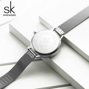 Image 5 - Shengke 여성 패션 시계 크리 에이 티브 레이디 캐주얼 시계 스테인레스 스틸 메쉬 밴드 세련된 Desgin 실버 쿼츠 시계 여성을위한