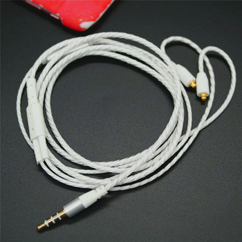 DIY pluggable earphone wire white color with mic for mmcx ue900 se535