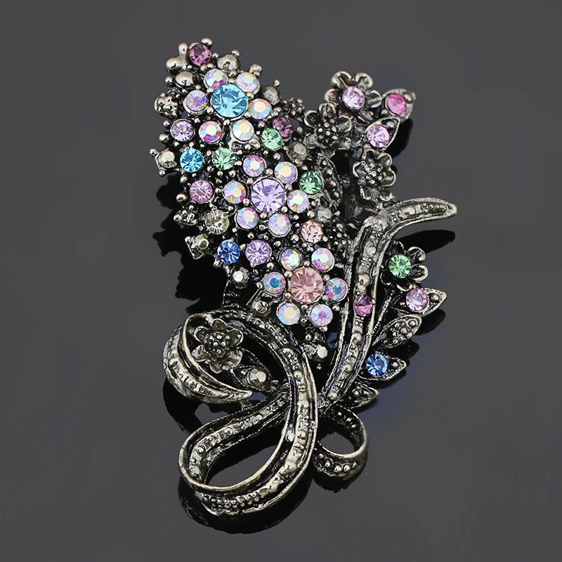 baiduqiandu Antique Gold Color Vintage Style Color Crystal Rhinestones Flower Brooch Pins for Women Clothes Accessories Jewelry