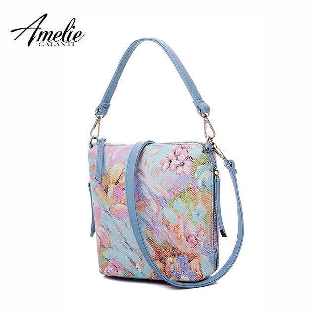 AMELIE GALANTI 2017 summer flower women famous design handbags solid bucket shoulder bag zipper small economic simple young