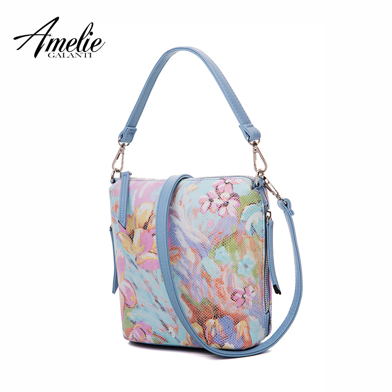 AMELIE GALANTI 2018 летние цветы женщины известный дизайн сумки мягкое ведро молния небольшая экономические простой молодой