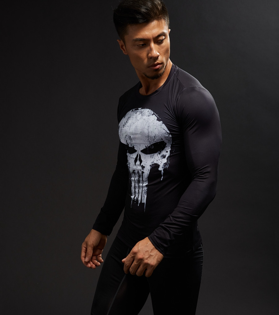 Long Sleeve 3D T Shirt Men T-Shirt Male Crossfit Tee Captain America Superman tshirt Men Fitness Compression Shirt Punisher MMA