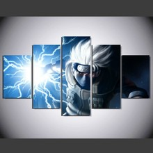 5 Pieces HD Print Painting Japanese Anime Naruto Hatake Kakashi For Modern Decorative Bedroom Living Room Home Wall Art Decor