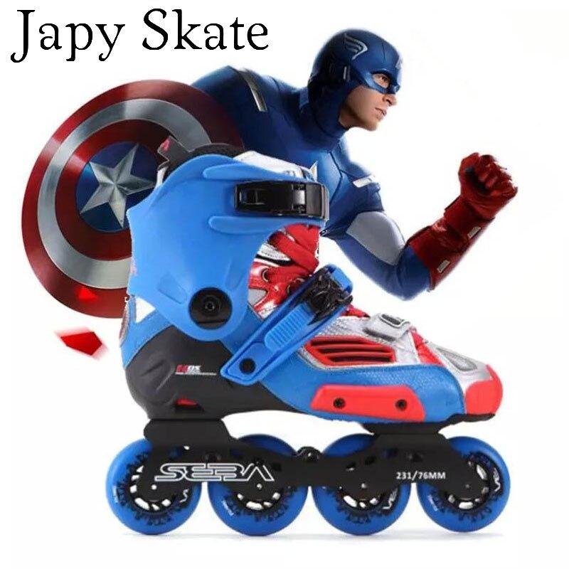 Prix pour Jus japy Skate D'origine SEBA HAUTE Captain America Professionnel Patins À Roues Alignées Adulte À Rouleaux Chaussures De Patinage Slalom Livraison Coulissante Patines
