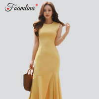 Foamlina Sexy Evening Party Dress Vestidos Robe Femme 2018 Elegant Yellow Sleeveless Flounce Midi Dress Women Summer Dress