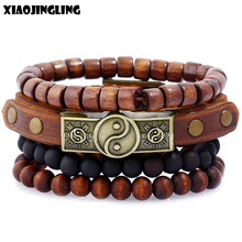 XIAOJINGLING 4pcs/set Handmade Wristband Bracelets For Men V