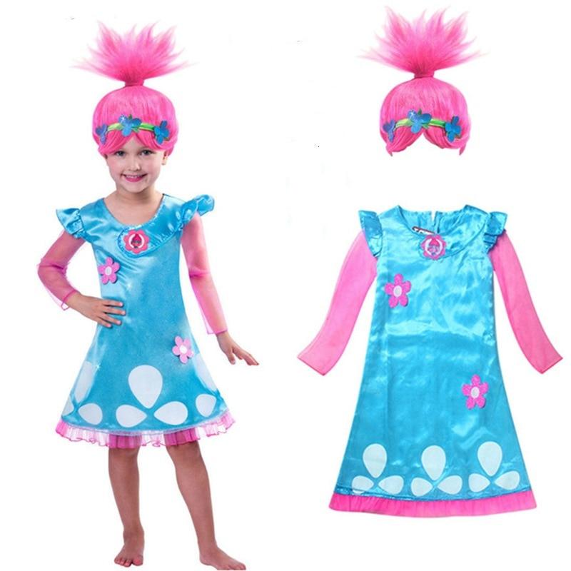 fdd5a0b842a8 2018 Nuovo Troll Parrucca + insieme del vestito Dei Bambini Costumi Per Le  Ragazze Carnevale Costumi