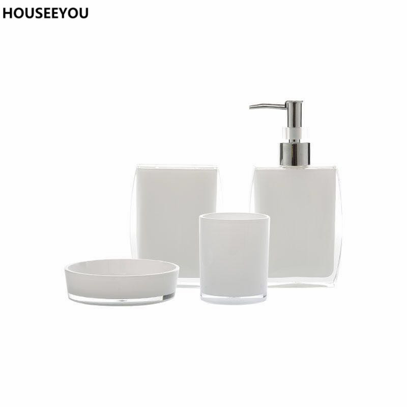Bath Ensemble Bathroom Soap Dish Lotion Dispenser Toothbrush Holder Cup Vanity 4 Pcs Set In Accessories Sets From Home Garden On