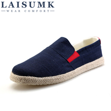 2019 LAISUMK Men Non-slip Canvas Shoes High Quality Mens Casual Male Brand Loafers Breathable Fashion Style Free Shipping