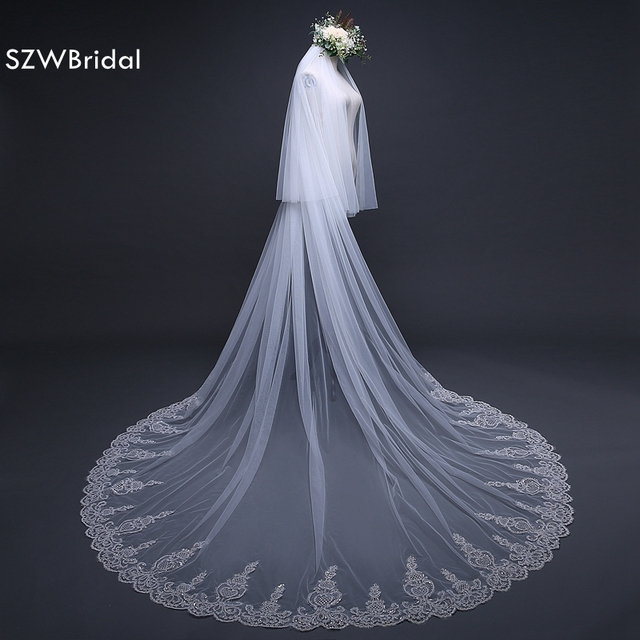 Fashion 3 Meter veil wedding Long Lace Edge Bridal Veil with Comb Wedding Accessories Sluier Vestido de noiva voile de mariee