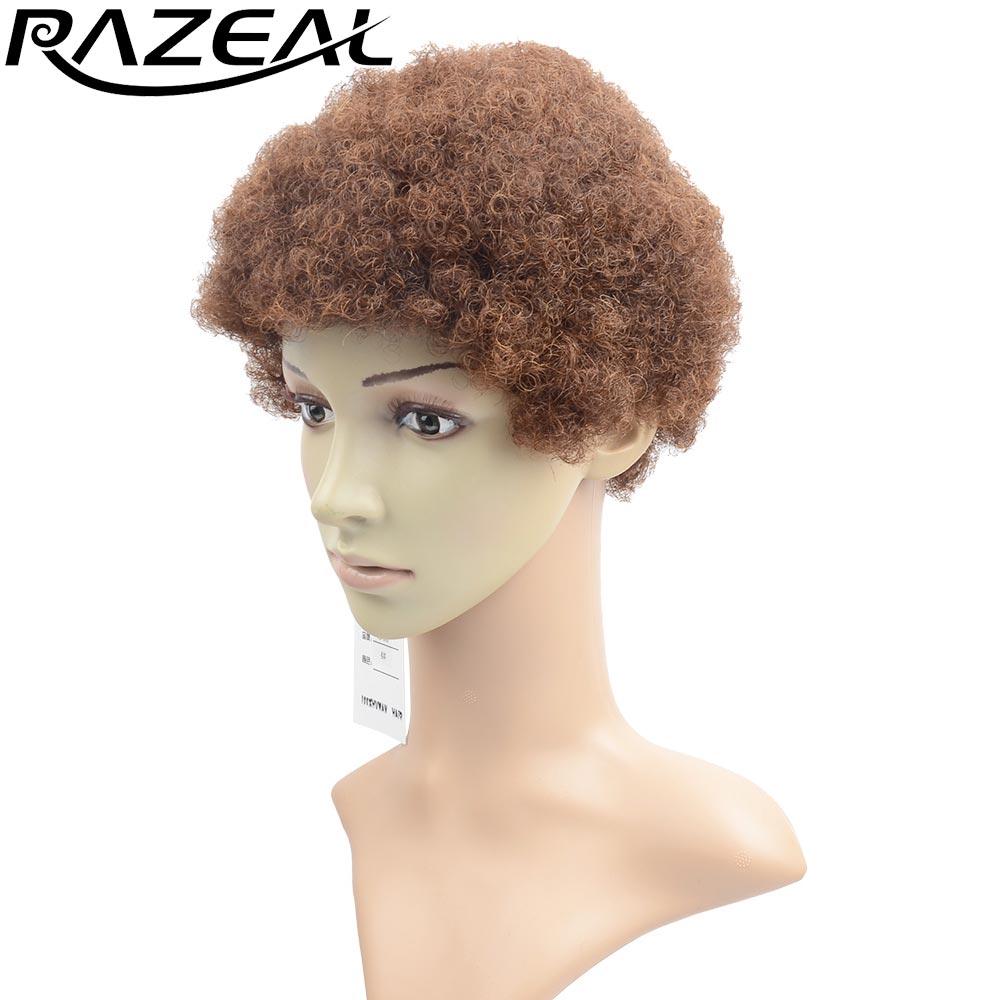 """Razeal 6 """"Fyra färger tillgängliga syntetiska korta peruker African American Afro Kinky Curly Wig Hög temperatur Värmebeständig Fiber"""