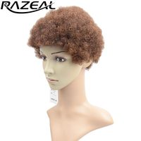 Razeal 6 Four Colors Available Synthetic Short Wigs African American Afro Kinky Curly Wig High Temperature Heat Resistant Fiber