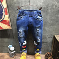 2017 new Korean fashion trousers children's cartoon pattern hole jeans size 100-140