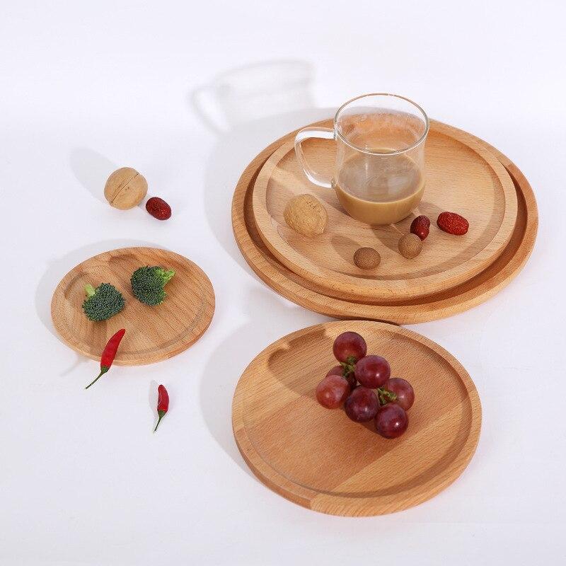 Japonês faia café da manhã log placa pizza placa prato de frutas rodada coaster café bife Ocidental fruto pallet de madeira - 3