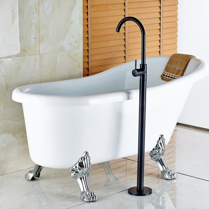 Luxury Solid Brass Oil Rubbed Bronze Finished Deck Mounted Bathroom Tub Faucet Single Handle Mixer Tap
