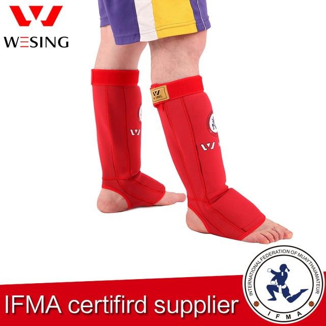 Wesing высокая степень защиты 100% хлопок муай тай голени и стопы гвардии для конкуренции или профессиональной подготовки, утвержденного IFMA 1509A1