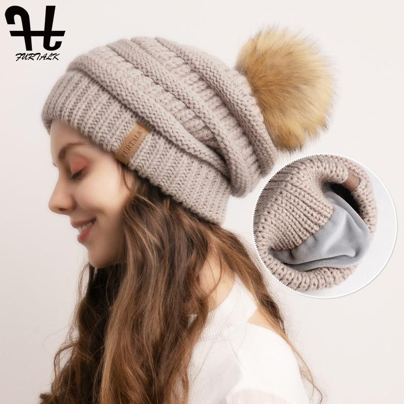 FURTALK Winter Beanie Hat For Women Knitted Pompom Hat Slouchy Beanie Skullies Velvet Lining Female Warm Soft Hat Korean Red Cap