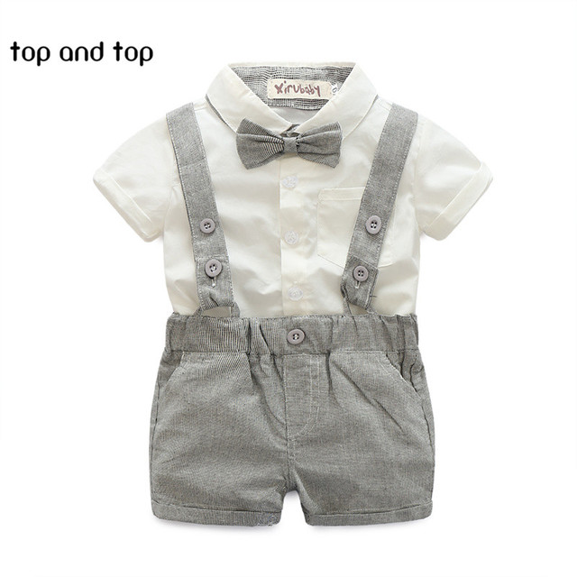 Summer style baby boy clothing set newborn infant clothing 2pcs short sleeve t-shirt + suspender gentleman suit
