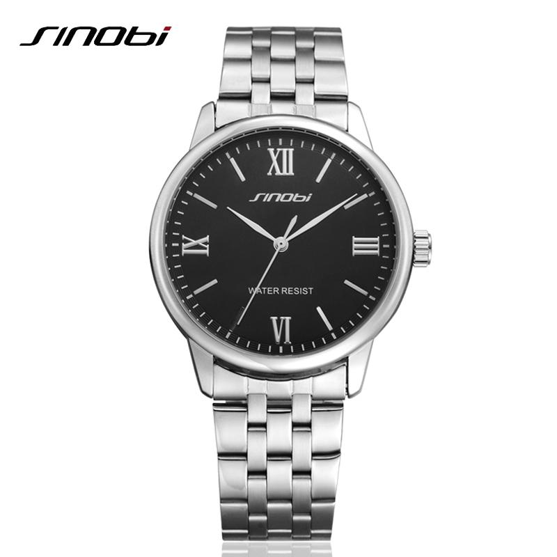 Prix pour Classique mode hommes complet en acier inoxydable d'affaires Quartz montre - bracelet robe Relogio mâle Relojes marque Sinobi nouveau