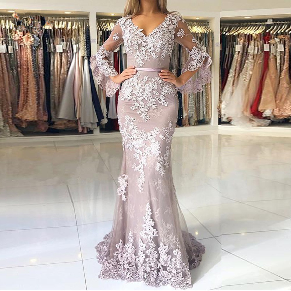 Elegant Muslim   Evening     Dresses   2019 Mermaid V-neck 3/4 Sleeves Lace Beaded Islamic Dubai Saudi Arabic Long Formal   Evening   Gown