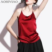 2021 Silk Crop Top Summer Women Tank Top Sleeveless Shirt Bustier Sexy O-Neck Halter Vest Bralette Blouse Cami Black White Red