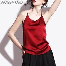 цена на 2017 Silk Crop Top Summer Women Tank Top Sleeveless Shirt Bustier Sexy O-Neck Halter Vest Bralette Blouse Cami Black White Red