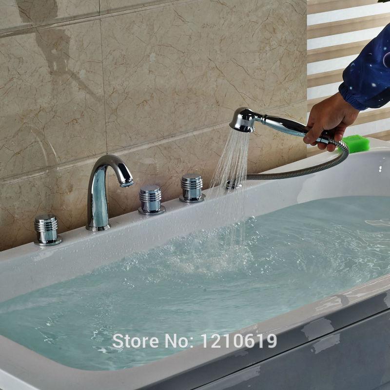 Newly Chrome Finish Bathtub Faucet w/ Handheld Shower Deck Mount Modern 5Pcs Shower Tub Mixer Faucet Tap newly deck mount 3pcs bathtub faucet w handheld shower head shower modern tub faucet waterfall spout single handle mixer tap