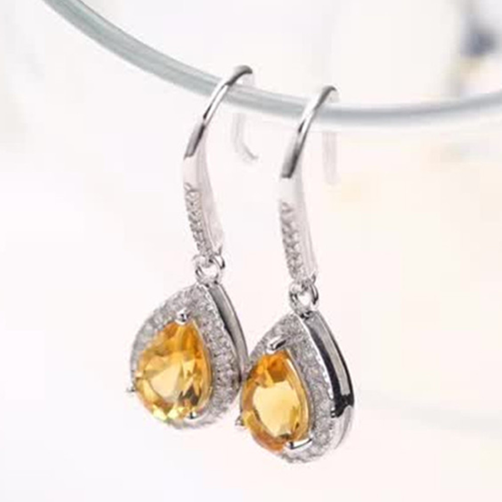 wholesale trendy classic gemstone jewelry 925 sterling silver natural yellow citrine crystal stud earrings for women anniversary