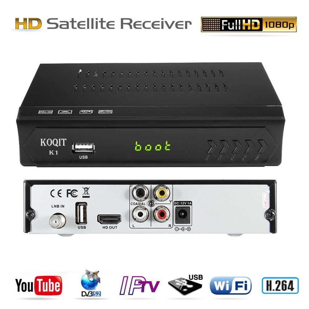 KOQIT Full HD DVB-S2 DVB-S Internet Digital Satellite Receiver TV Box IPTV m3u Player RJ45 Wifi Youtube AC3 Biss vu PVR 1080PKOQIT Full HD DVB-S2 DVB-S Internet Digital Satellite Receiver TV Box IPTV m3u Player RJ45 Wifi Youtube AC3 Biss vu PVR 1080P