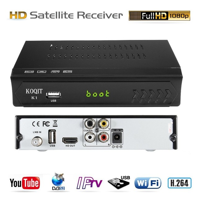 KOQIT Full HD DVB-S2 DVB-S Internet Digital Satellite Receiver TV Box IPTV m3u Player RJ45 Wifi Youtube AC3 Biss vu PVR 1080P