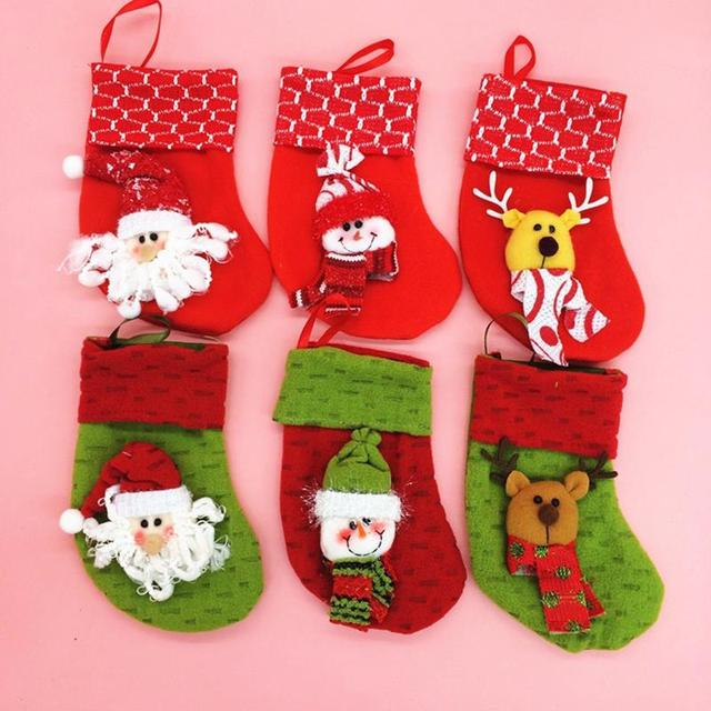 personalized felt christmas stockings decoration ornaments party accessories cute santa embroidery xmas stocking holder gift bag - Decorative Christmas Stocking Holders