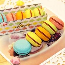 1 set 5pcs Creative Cake Shaped Macaron Eraser for kids , Candy Color Rubber Eraser as School Stationary все цены
