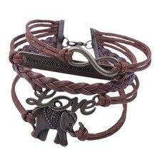 Bracelets For Women Men Bracelet crystal women Fashion Elephant Handmade Leather Braid Fashion charm homme femme 2018