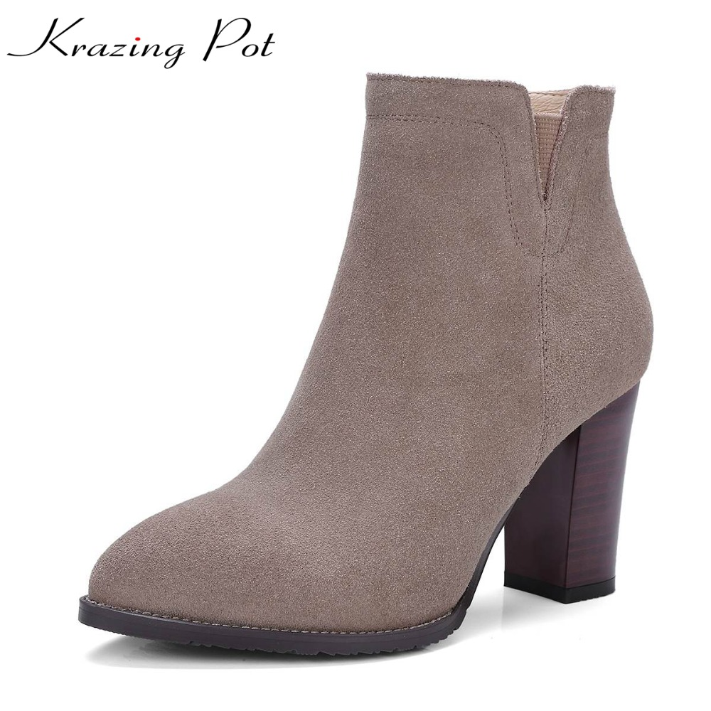 Krazing Pot 2018 cow suede super high heels solid pointed toe zipper high street fashion European style designer ankle boots L26 2018 fashion winter shoes cow suede high heels solid pointed toe zipper handmade warm european style sweet women ankle boots l26