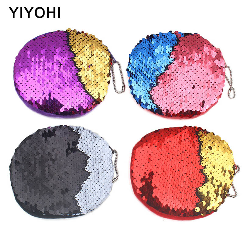 Newest Bling Sequin Double Color Coin Bag Wallet Change Purse Zipper Round Clutch Earphone Cable Storage Holder Small Keys Bag