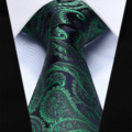 "TP710G8 Green Navy Blue Paisley 3.4"" Silk Jacquard Woven Men Tie Necktie"