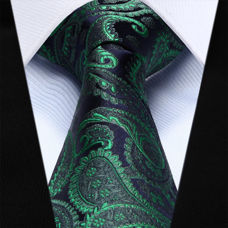 TP710G8 Green Navy Blue Paisley 3.4 Silk Jacquard Woven Men Tie Necktie
