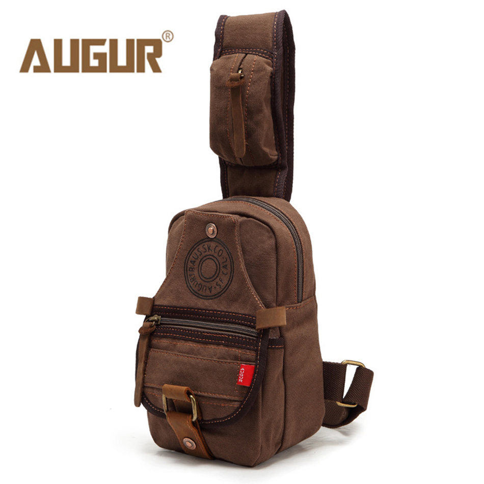 AUGUR Men Shoulder Bag Small Cell Phone Flap Canvas Multifunction Bag Strap Sling Chest Pack Men Chest Bags Men Messenger Bags japanese pouch small hand carry green canvas heat preservation lunch box bag for men and women shopping mama bag